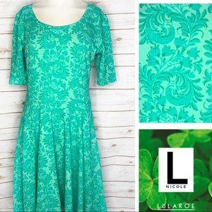 L Nicole green floral print dress